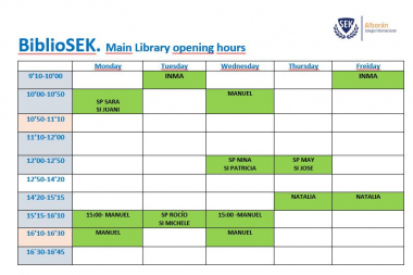 Main library opening hours